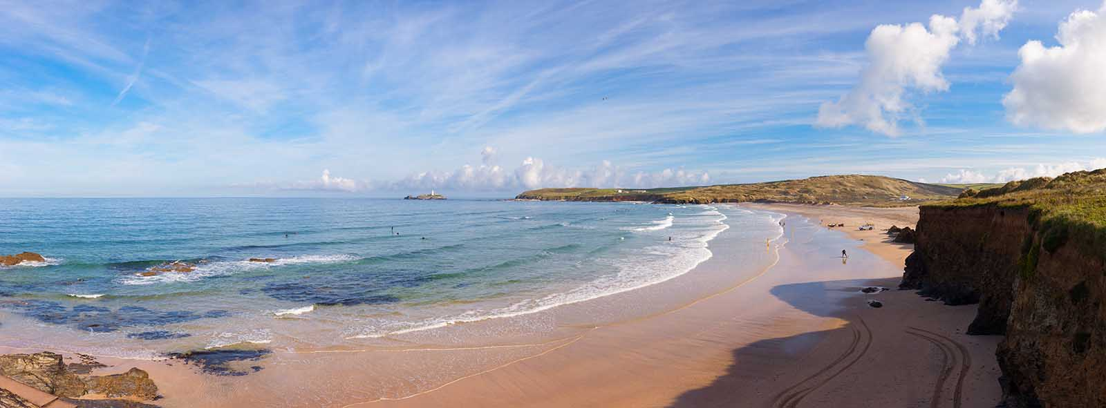[Godrevy - Gwithian Beach Panorama, with Lighthouse]