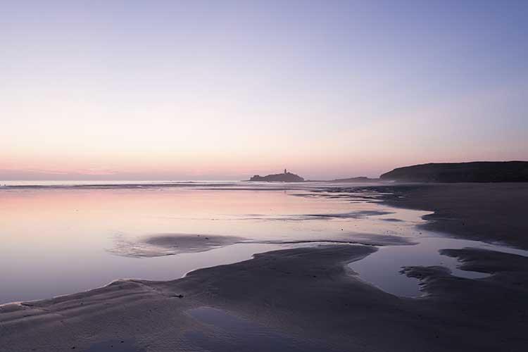 [Godrevy - Beach and Lighthouse at Dusk #2]