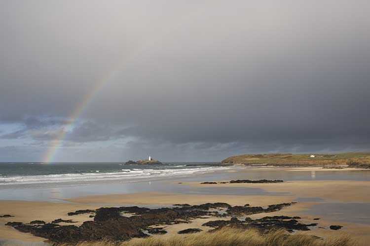 [Godrevy - Beach and Lighthouse with Rainbow]