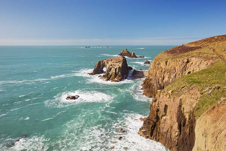 [Land's End - Enys Dodnan and Armed Knight and Longships]