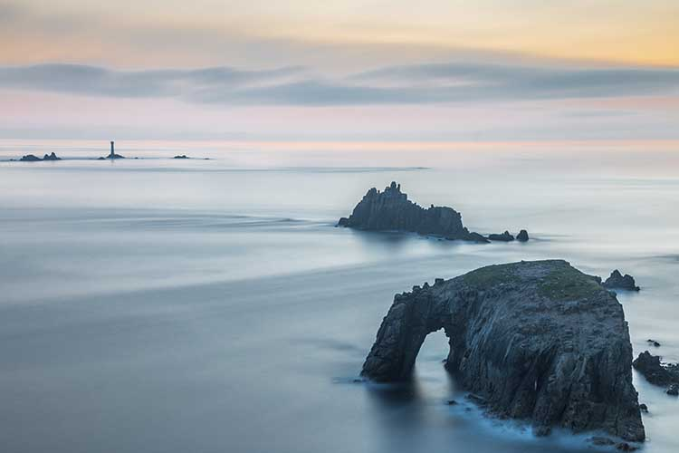 [Land's End - Enys Dodnan and Armed Knight and Longships at Twilight]