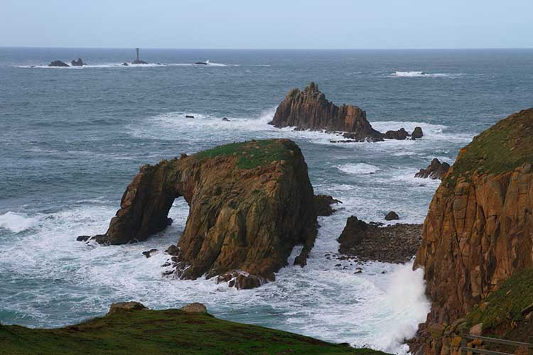 [Land's End - Enys Dodnan and Armed Knight and Longships Lighthouse]