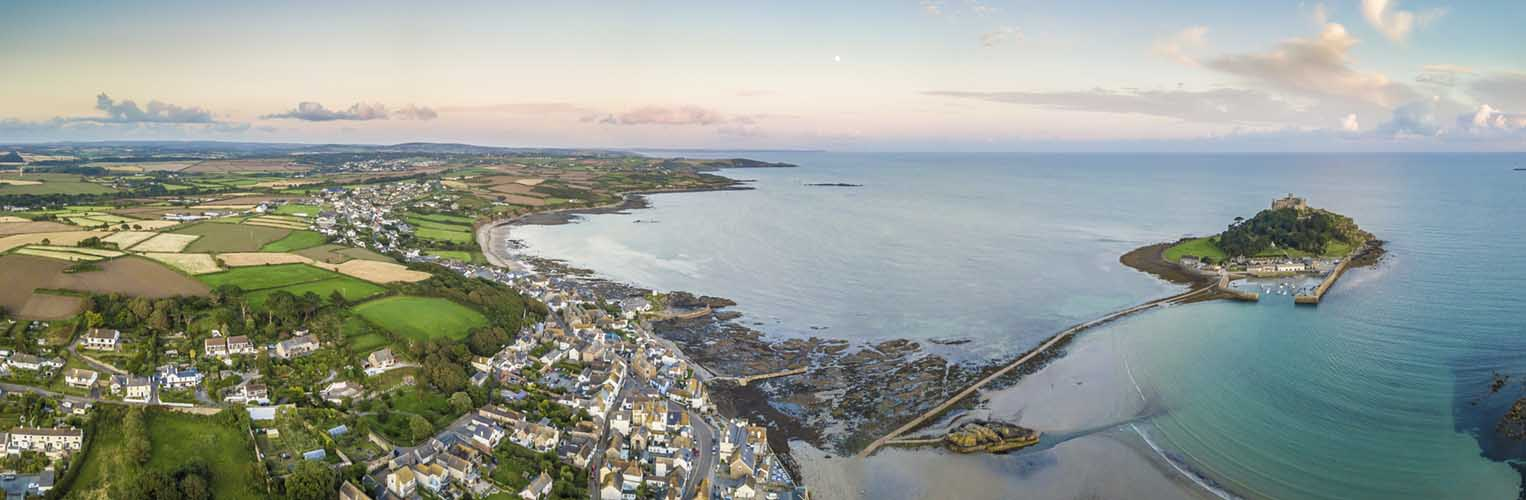 [Marazion, Cornwall - Aerial Panorama with St Michael's Mount]