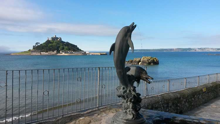 [Marazion - Dolphins Statue with St Michael's Mount]