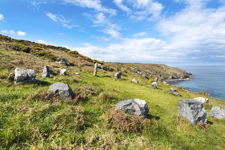 [Trevalgan Stone Circle (aka The Merry Harvesters) with Pen Enys Point]