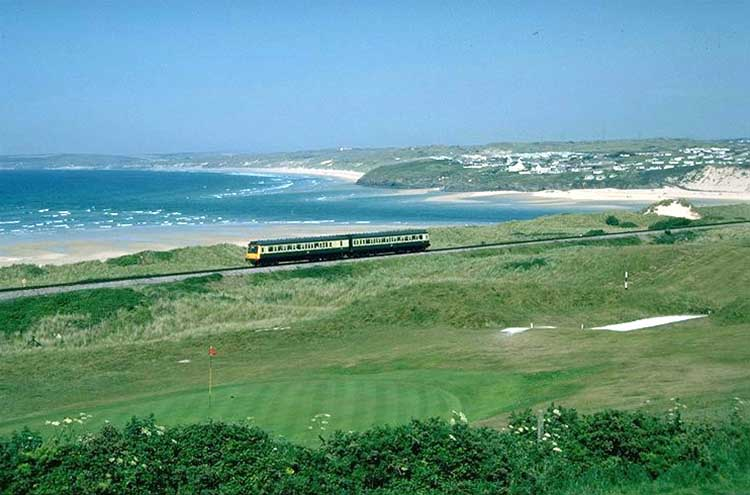 [Lelant, Golf Course, Train and St Ives Bay]