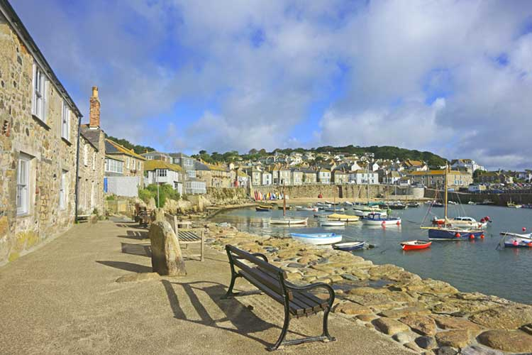 [Mousehole Harbour with Benches on Wharf Rd]