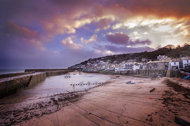 [Mousehole Harbour and Beach at Dusk]