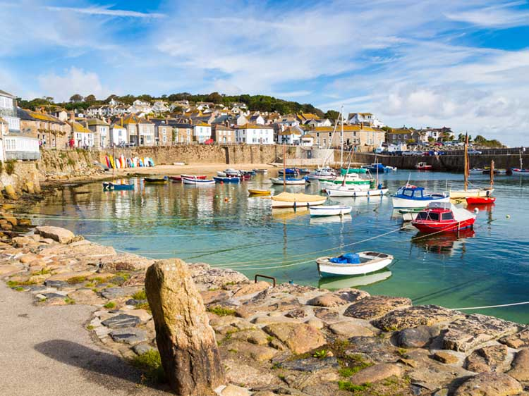 [Mousehole Harbour, with the Tide in and Boats Moored]