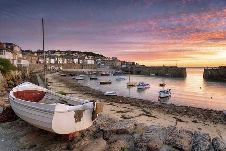 [Mousehole, Cornwall, Sunrise over Fishing Boats]
