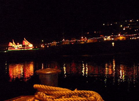 [Newlyn Christmas Lights - Boat on the Slip]