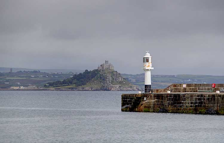 [Penzance Lighthouse, with St Michaels Mount]