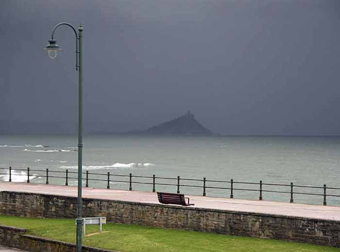 [Penzance Prom toward St Michael's Mount, Expecting Rain]