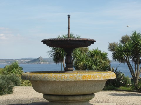 [Penzance, Fountain in St Anthony Gardens, toward St Michael's Mount]