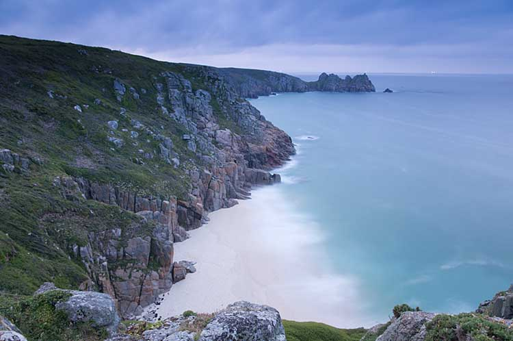 [Porthcurno, Cornwall - Beach and Logan Rock]