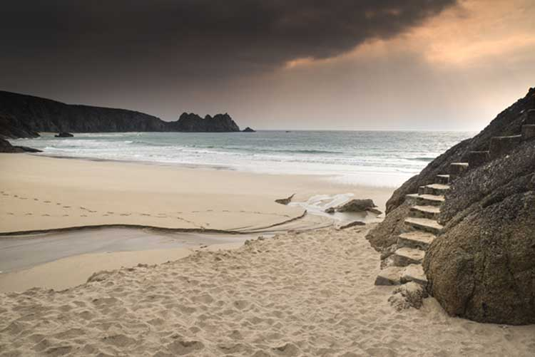 [Porthcurno, Cornwall - Beach and Logan Rock before Sunset]