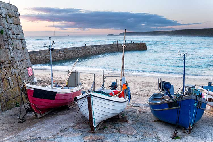 [Sennen Cove, Cornwall - Fishing Boats on the Beach, Dusk]