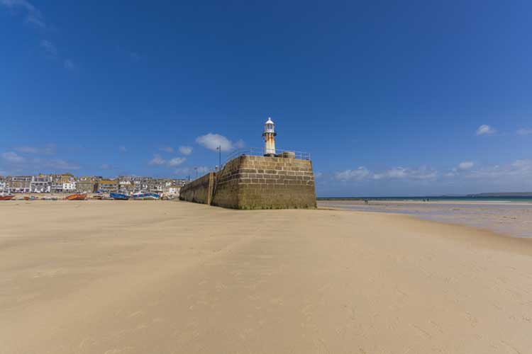 [St Ives, Cornwall - Harbour Beach with Smeaton's Pier Lighthouse]