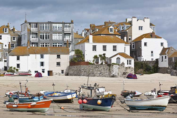 [St Ives, Cornwall - Beachfront Houses, with Boats]