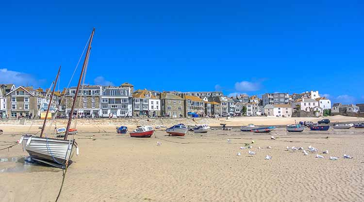 [St Ives - Boats on the Beach, Low Tide]