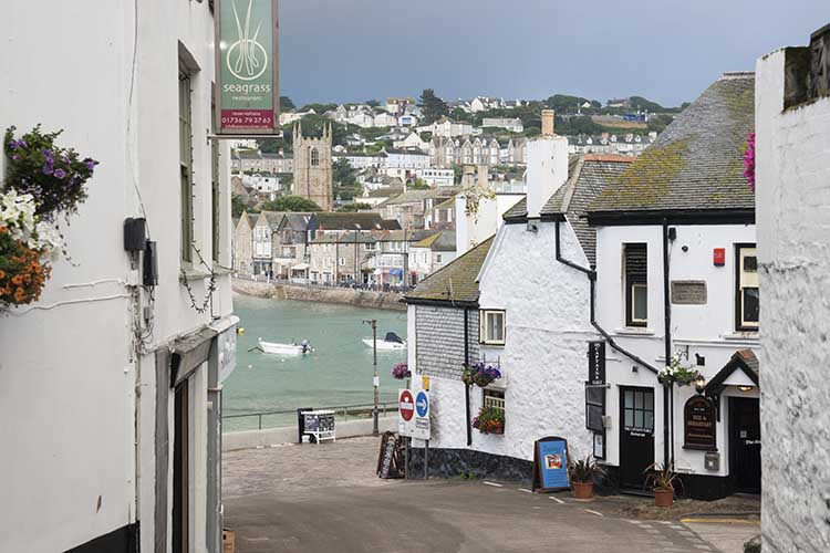 [St Ives - Fish Street to Harbour, with Sloop Inn on the Right]