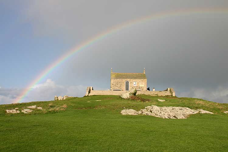 [St Ives, Cornwall - Island and St Nicholas Chapel with Rainbow]