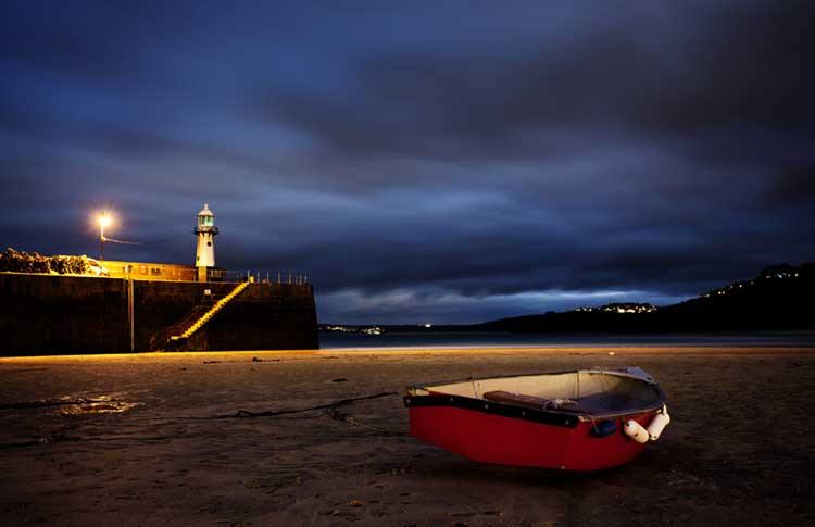 [Rowing Boat on Harbour Beach, at Night, with Smeaton's Pier Lighthouse]