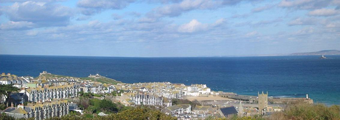 [St Ives Trenwith Lane Panorama with Godrevy Lighthouse in the Distance]