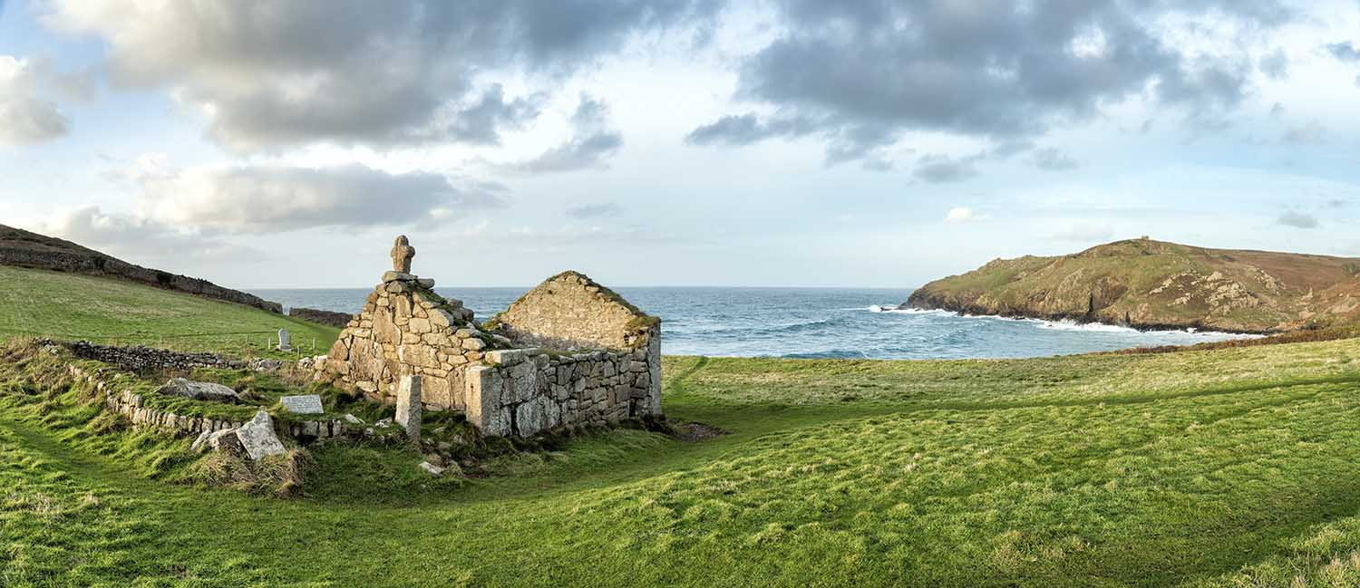 [Cape Cornwall, St Just, Cornwall - St Helen's Oratory, Chapel Ruin Panorama]